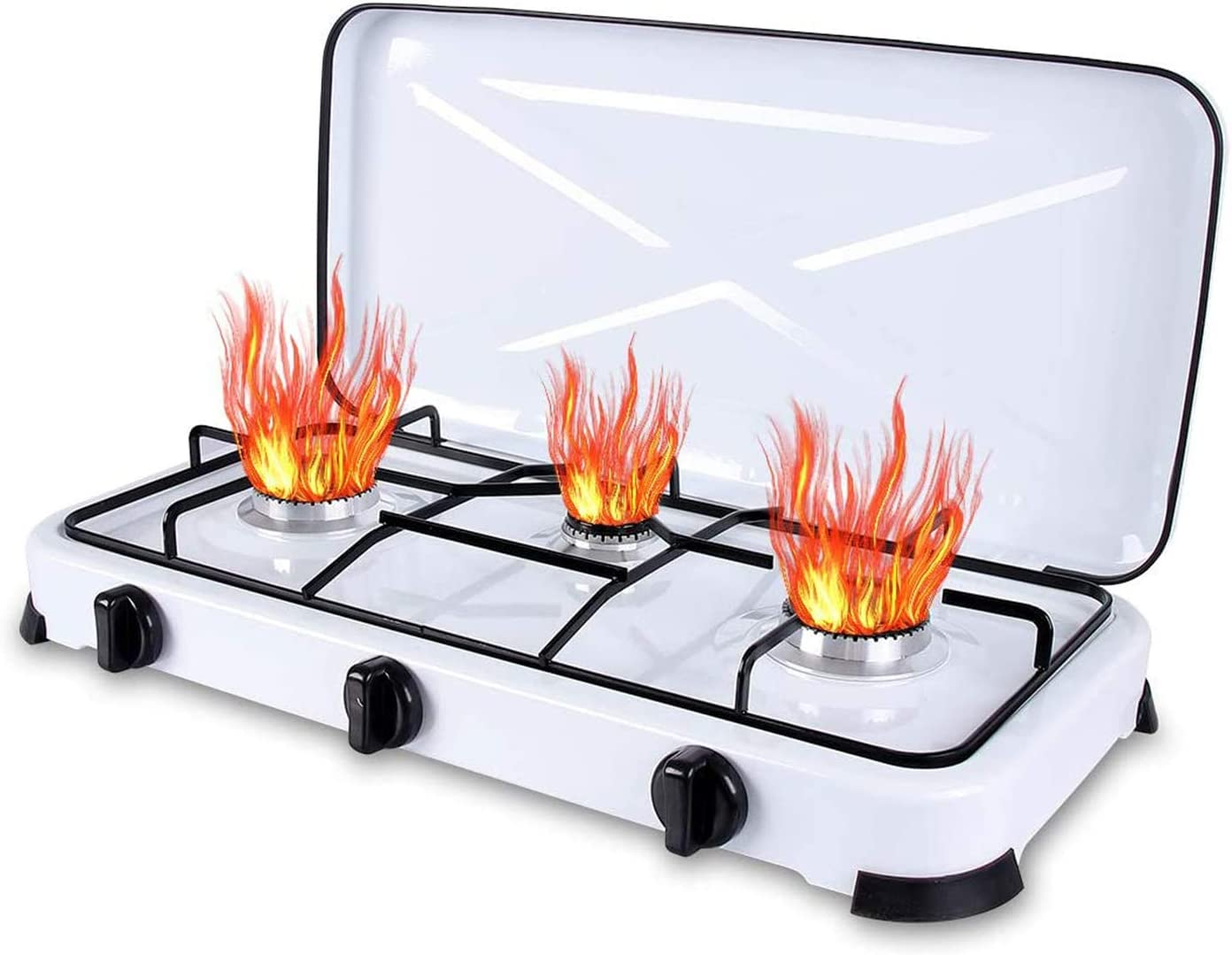 Qdreclod Camping Cocina de Gas 3 Quemadores con Tapa, Quemadores de Cocina de Gas a Prueba de Viento Al Aire Libre,Apta para Macetas de Miferentes ...