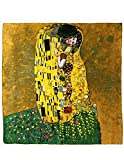 Image of Dahlia Women's 100% Luxury Silk Scarf - Gustav Klimt's Famous Painting