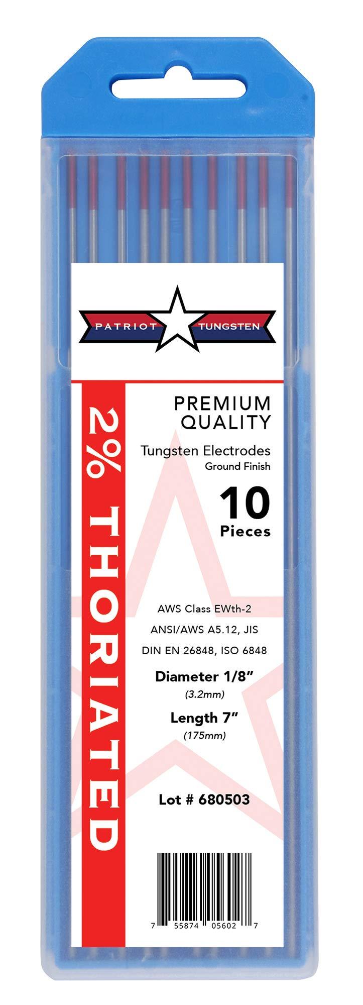 2% Thoriated TIG Welding Tungsten Electrodes 1/8''x7'' 10-Pack by Patriot Tungsten