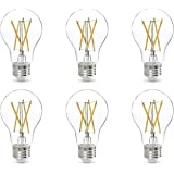 Amazon Basics 60W Equivalent, Clear, Daylight, Dimmable, CEC Compliant, A19 LED Light Bulb   6-Pack