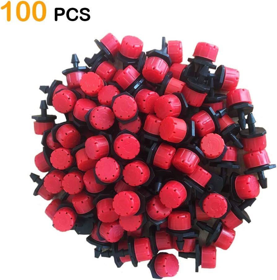 100pcs 360 Degree Adjustable Irrigation Drippers Sprinklers, 1/4 Inch Emitters Drip for Watering System by Korty