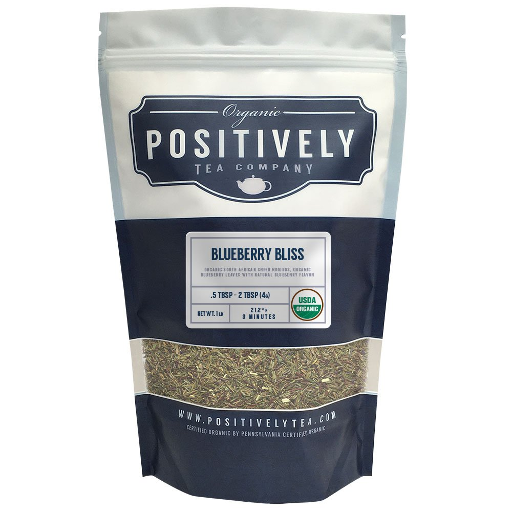 Positively Tea Company, Organic Blueberry Bliss Green Rooibos, Rooibos Tea, Loose Leaf, USDA Organic, 1 Pound Bag by Organic Positively Tea Company