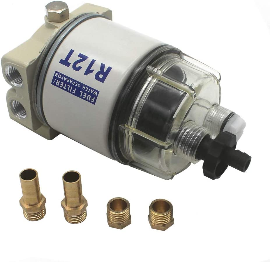 KIPA R12T Fuel Filter Water Separator 120AT NPT ZG1/4-19 with Fitting Complete Combo Filter For Automotive Racor R12T 10 Micron Marine Diesel Engine 3/8 Inch NPT Outboard Motor Durable Spin-on Housing