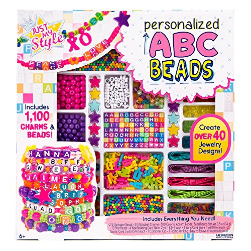 Just My Style ABC Beads by Horizon Group Usa, 1000+ Charms & Beads, Alphabet Charms, Accent Beads, Seed Beads, Star Beads, Wax Beading Cord, Satin Cord & Key Ring Included, Bright ()