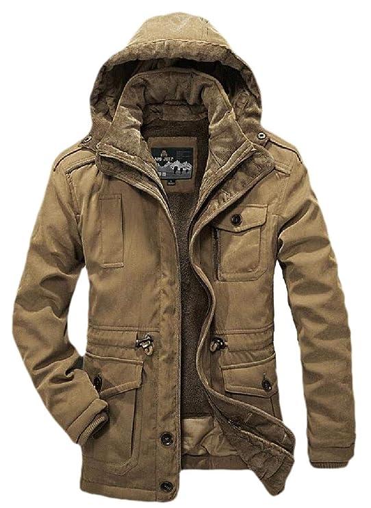 Joe Wenko Mens Camo Vogue Quilted Cotton-Padded Overcoat Parkas Coat