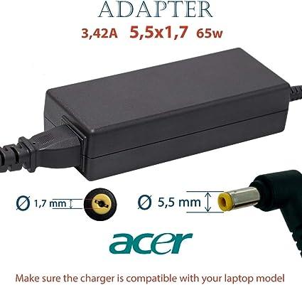 Notebook Laptop Caricabatterie Alimentatore 19v 3.42a 65w per Acer Aspire 5620