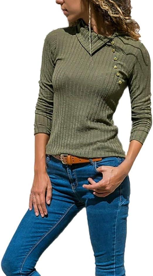 YOMXL - Blusa de Solapa para Mujer, Cuello de Solapa, con Botones ...