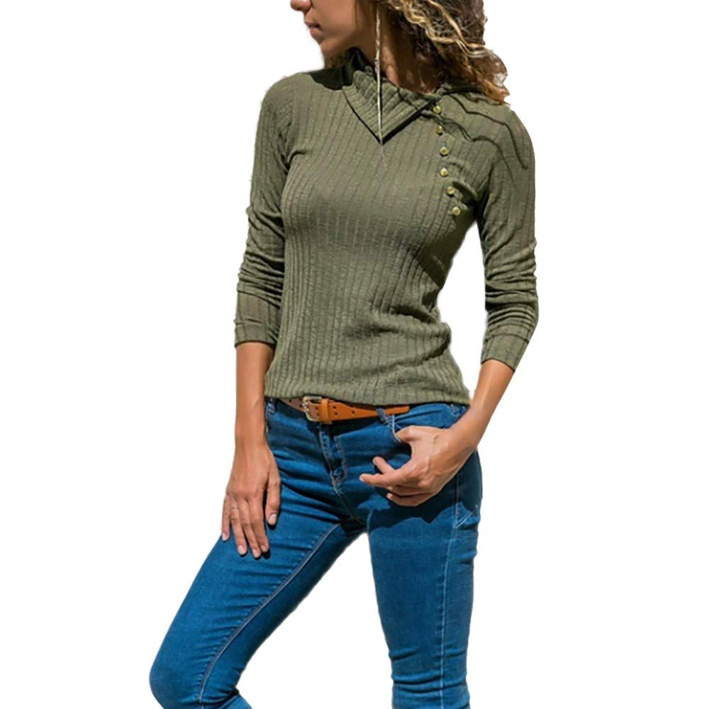 Whitegeese Women Solid Lapel Long Sleeve Button Front Slim Sweater Pullover Top