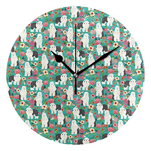 MostFans 9.5in Battery Operated Wall Clock Old English Sheepdog Florals Flowers Print Round Wall Clocks Creative Silent Decorative