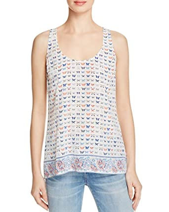 9f1158ec42d8a Image Unavailable. Image not available for. Color  Joie Rain G Butterfly  Print Sleeveless Silk White Women s Tank Top ...
