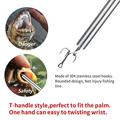 Hook Remover Durable Stainless Steel Fish Hook Bait Remover Easy Hook Removal