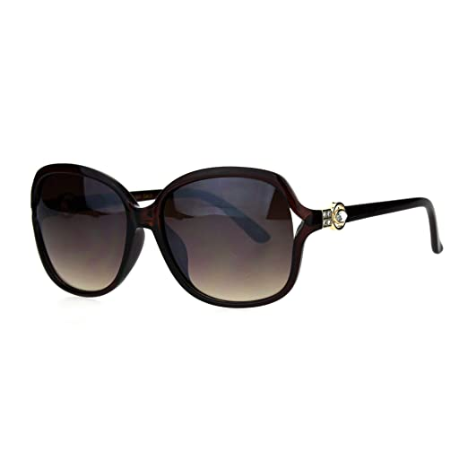 b7dd131a38f Womens Rhinestone Jewel Luxury Large Rectangular Butterfly Plastic  Sunglasses All Brown