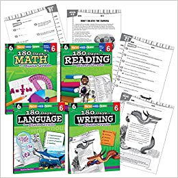 Amazon.com: 180 Days of Practice - 6th Grade Workbook Set for Kids ...