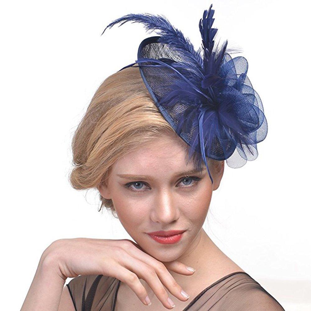 Hilary Ella Cocktail Feather Mesh Net Sinamay Fascinator Hat
