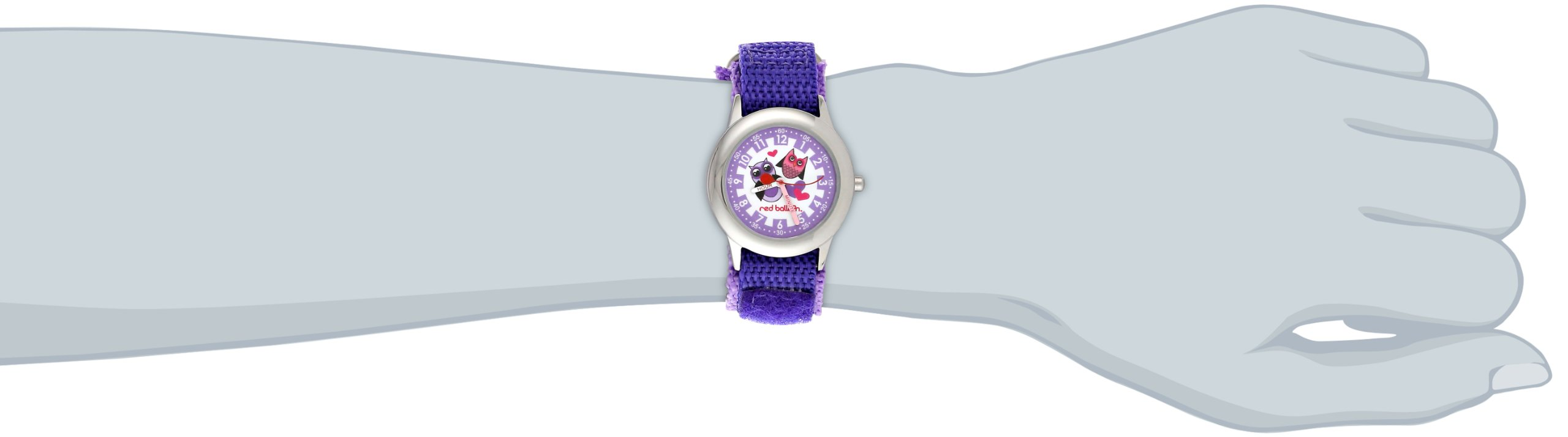 Red Balloon Kids' W000334''Love Owl Time Teacher'' Stainless Steel Watch with Purple Nylon Band by Red Balloon (Image #2)