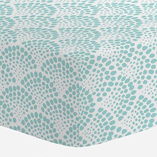 (Carousel Designs Seafoam Aqua Scallop Dot Crib Sheet - Organic 100% Cotton Fitted Crib Sheet - Made in the)
