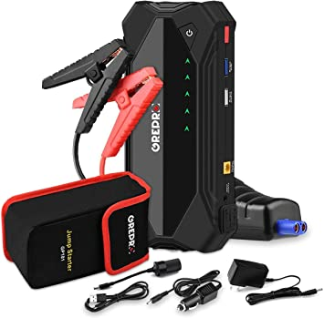 Amazon Com Jump Starter 18000mah Jumper Pack With Usb Quick Charge Battery Booster Support Gas And Diesel Engine Battery Jump Starter Up To 8 0l Gas Or 6 0l Diesel Engine Automotive