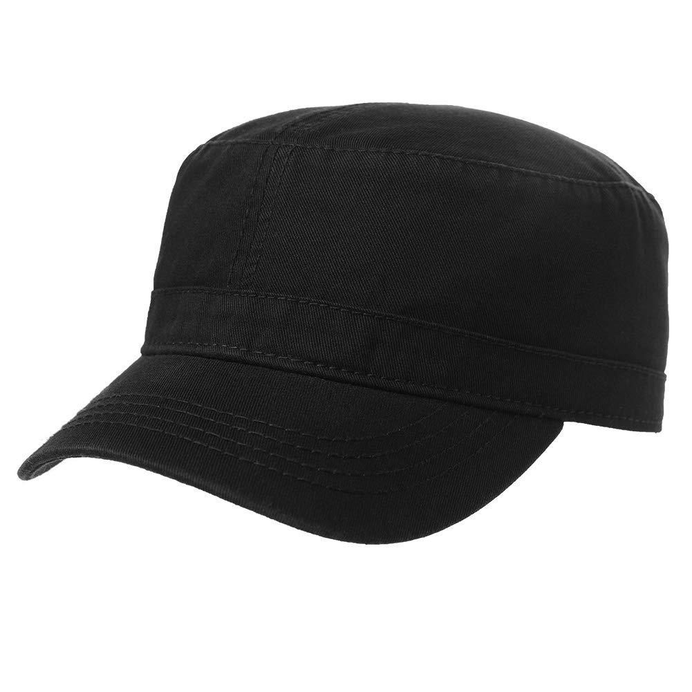 Men Large Head Womens Denim Canvas Cotton Army Military Sun Radar Combat Hat Baseball Cap Black 56-60cm by Fancet