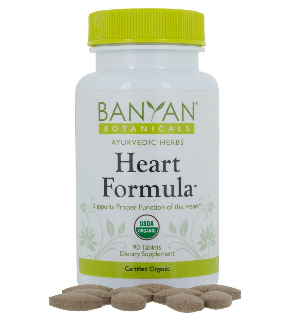 Banyan Botanicals Heart Formula - Certified Organic, 90 Tablets - Supports Proper Function of the Heart