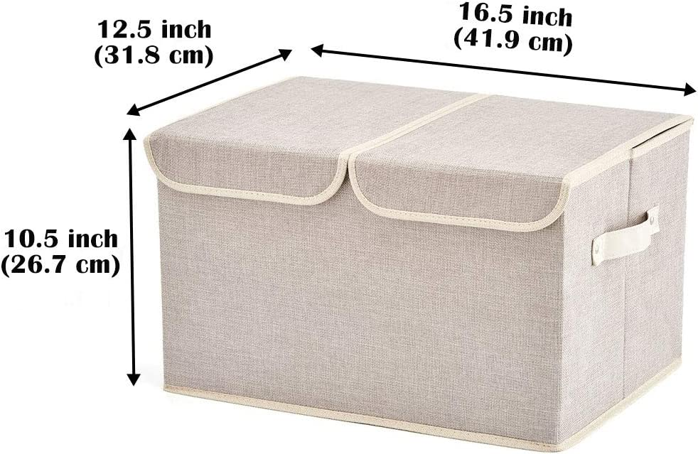 Living Room Closet Bedroom Large Storage Boxes Office 3-Pack Nursery EZOWare Large Linen Fabric Foldable Storage Cubes Bin Box Containers with Lid and Handles for Home Silver Gray