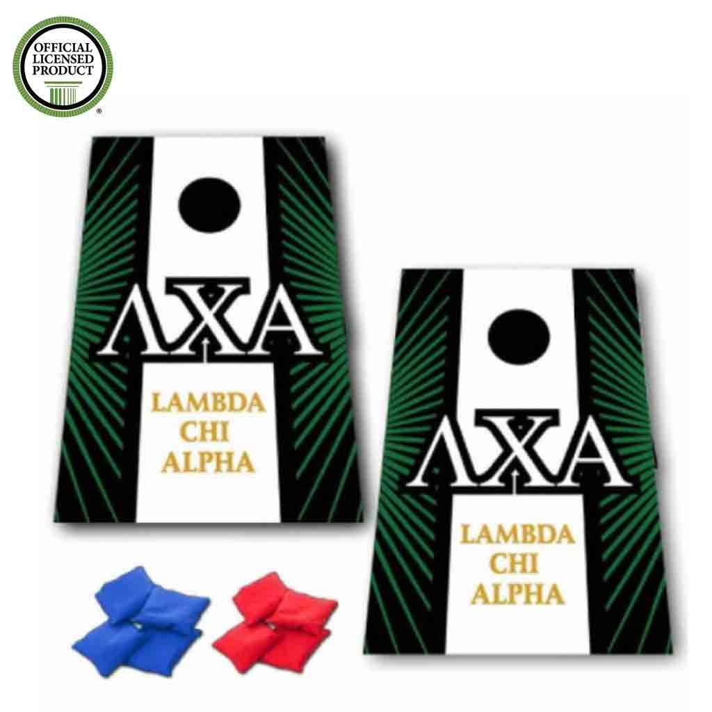 Lambda Chi Alpha Cornhole Bag Toss Game – スターバーストとストライプ – 8バッグ含ま