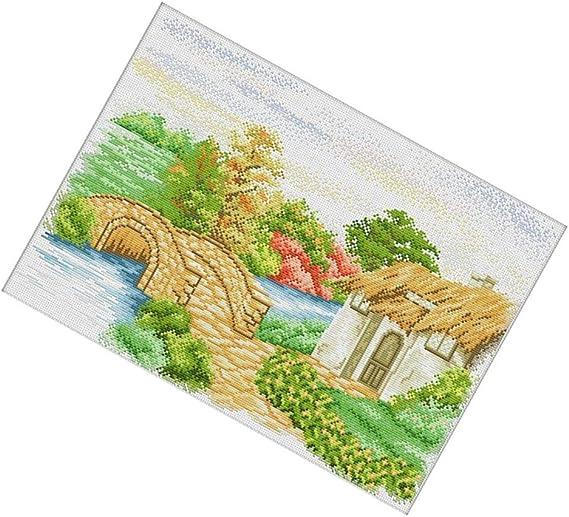 Gr/ö/ße 81x56cm Baoblaze Stickvorlage vorgedruckt Kreuzstich Stickpackungen Z/ählmuster Stickbild Handarbeit Sticken Village Landschaft