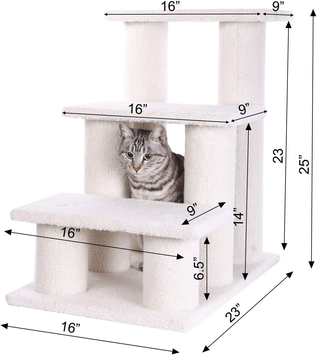 Armarkat Pet Steps, 3-steps, B3001, Ivory : Pet Stairs : Pet Supplies