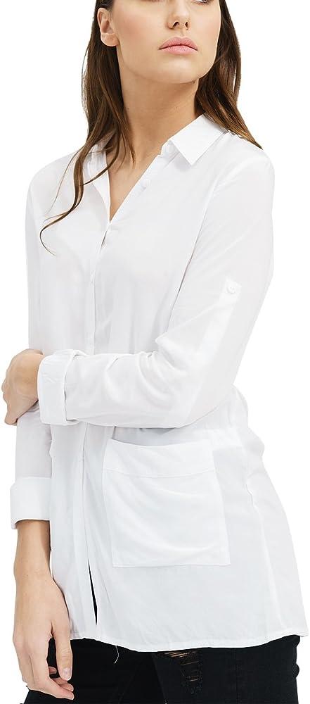 trueprodigy Casual Mujer Marca Blusa Basico Ropa Retro Vintage Rock Vestir Moda Cuello Alto Manga Larga Slim fit Designer Fashion Top Blouse Camiseta, Colores:White, Tamaño:XS: Amazon.es: Ropa y accesorios