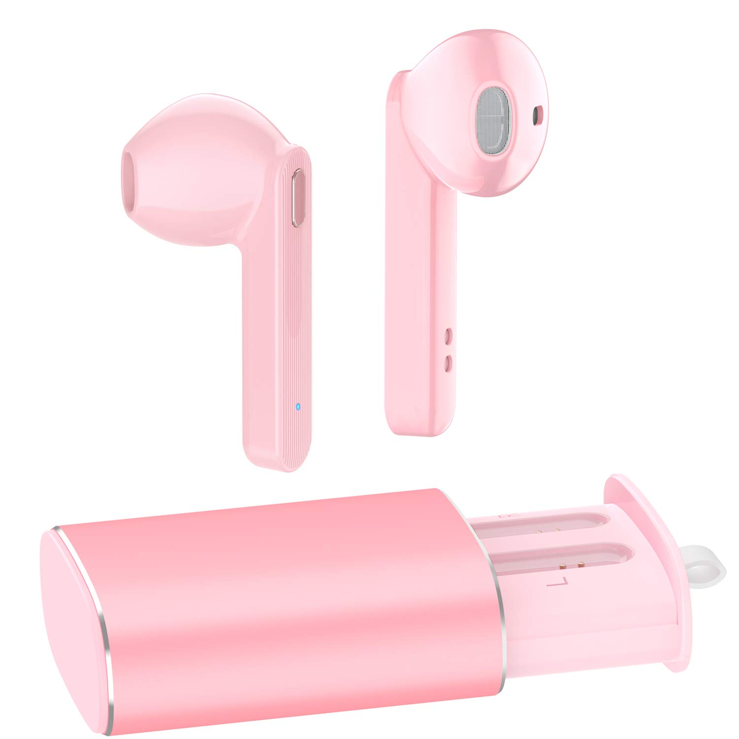 True Wireless Earbuds, AUGYMER Bluetooth 5.0 Earphones Auto Pairing Bluetooth Headphones TWS Stereo HiFi Headphones for Running Sports in-Ear with Type-C Charging Case Built in Mic Headset Pink