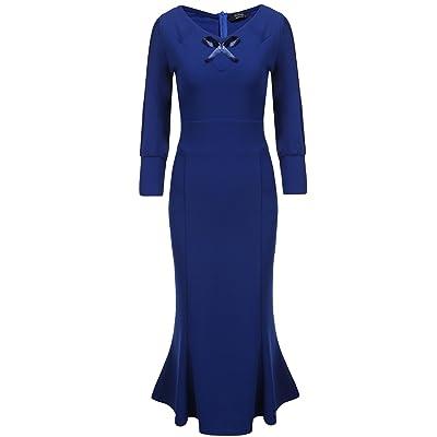 ACEVOG Women's Elegant V Neck 3/4 Sleeve Bodycon Fishtail Midi Cocktail Dress at Amazon Women's Clothing store