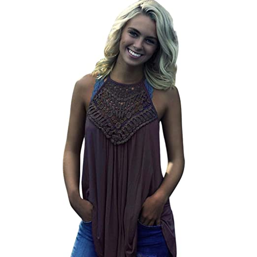 5d6253d0cee43 Image Unavailable. Image not available for. Color  VESNIBA 2018 Women  Summer Lace Vest Top Sleeveless Blouse Casual Tank Loose Tops T-Shirt