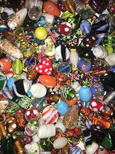 Cocoa's Beads Premium Elegant Embellished Fancy Mix Lamp Work Beads Glass & Crystal 75 Grams or 30-40 Beads Size 8MM to 18MM (Mix Glass Bead)