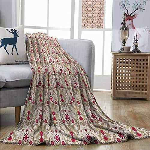 (Homrkey Throw Blanket Damask Victorian Classical Italian Style Vintage Floral Motifs Rococo Inspired Curly Leaves Blankets and Throws W70 xL93 Multicolor)