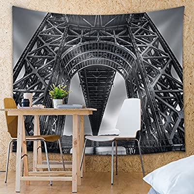 Grayscale Photo of an Intricate Architecture on a Bridge Made of Steel - Fabric Tapestry, Home Decor - 68x80 inches