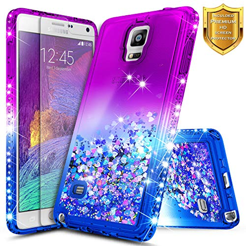 Note 4 Case, Galaxy Note 4 Glitter Case w/[Tempered Glass Screen Protector], NageBee Liquid Quicksand Waterfall Flowing Sparkle Bling Diamond Girls Cute Case for Samsung Galaxy Note 4 -Purple/Blue