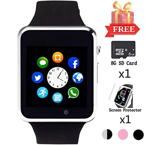 Beaulyn Smart Watch for Android Phones, Smartwatch Compatible with Bluetooth with SD SIM Card Slot Watch Phone Call Message Camera Pedometer for iOS ...