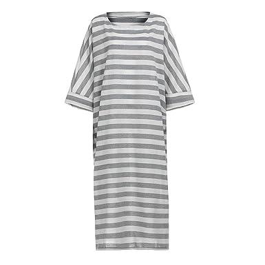 8441d9fc0be Amazon.com  ANJUNIE Boho Maxi Dress, Women s Striped 3 4 Sleeve Crew Neck  Casual Loose Long Kaftan  Clothing