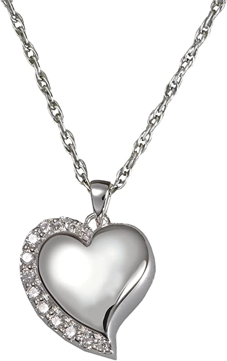 white Gold Jewelry Gifts for Women 14k White Gold White Mini Love Heart Pendant Necklace With Fixed Bail