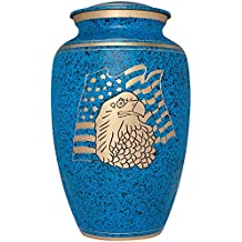 Blue Funeral Urn by Liliane Memorials- Cremation Urn for Human Ashes - Hand Made in Brass -Suitable for Cemetery Burial or Niche - Large Size fits remains of Adults up to 200 lbs - American Eagle Blue