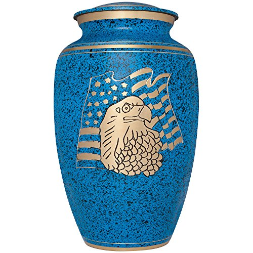 Liliane Memorials Blue Funeral Cremation Urn with American Flag Eagle Model in Brass for Human Ashes; Suitable for Cemetery Burial; Large Size Fits Remains of Adults up to 200 lbs, Large/200 lb,