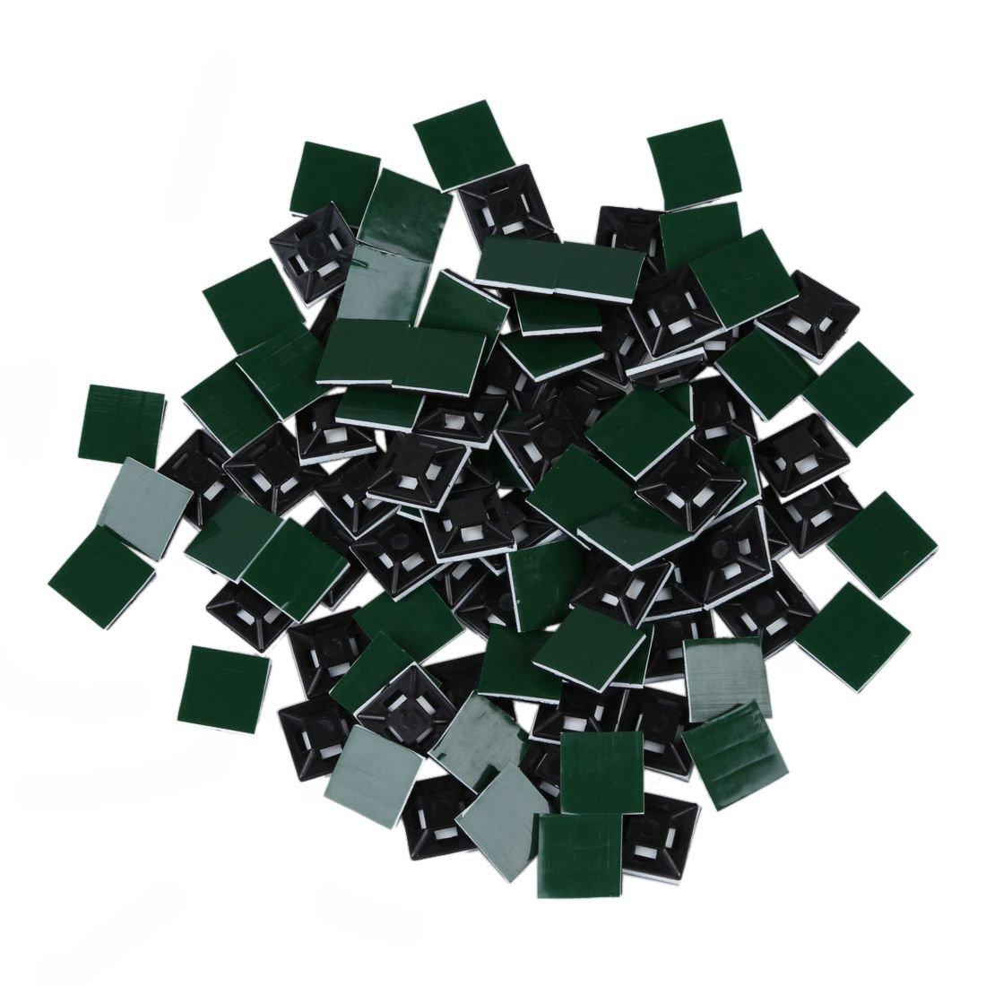Base de atadura de cables autoadhesivo - SODIAL(R) Base de atadura de cables autoadhesivo de plastico de 13 mm x 13 mm negro 100 piezas 4330226132