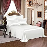 THXSILK 1 Pc Silk Flat Sheet, 19 Momme Silk Bed Sheet with Fine Embroidery, Ultra Soft Pure Mulberry Silk Bedding- Hypoallergenic, Machine Washable, Durable- Twin Size, White