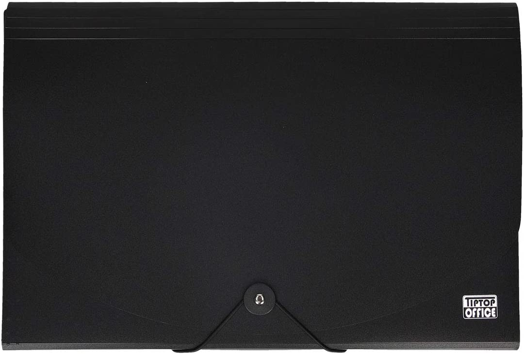 colore: Nero in polipropilene Cartella portadocumenti con 12 scomparti e chiusura con elastico Tiptop Office 403035 A4+