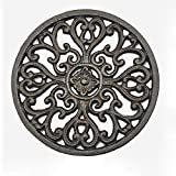LoveInUSA Iron Pot Holder, Cast Iron Trivet for Wood Stove Potholders Tablemat with Rubber Legs for Kitchen Dining Table Decor