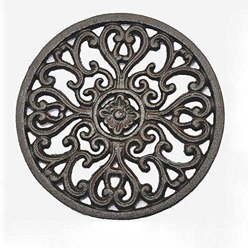 Iron Pot Holder, Cast Iron Trivet for Wood Stove Potholders Tablemat with Rubber Legs for Kitchen Dining Table Decor