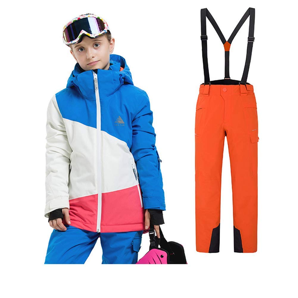 Orange 134 140 Z&X Combinaison de Neige pour Enfants - Coutures étanches Combinaison imperméable d'hiver Ajustable - Idéal pour Le Camping par Temps Froid