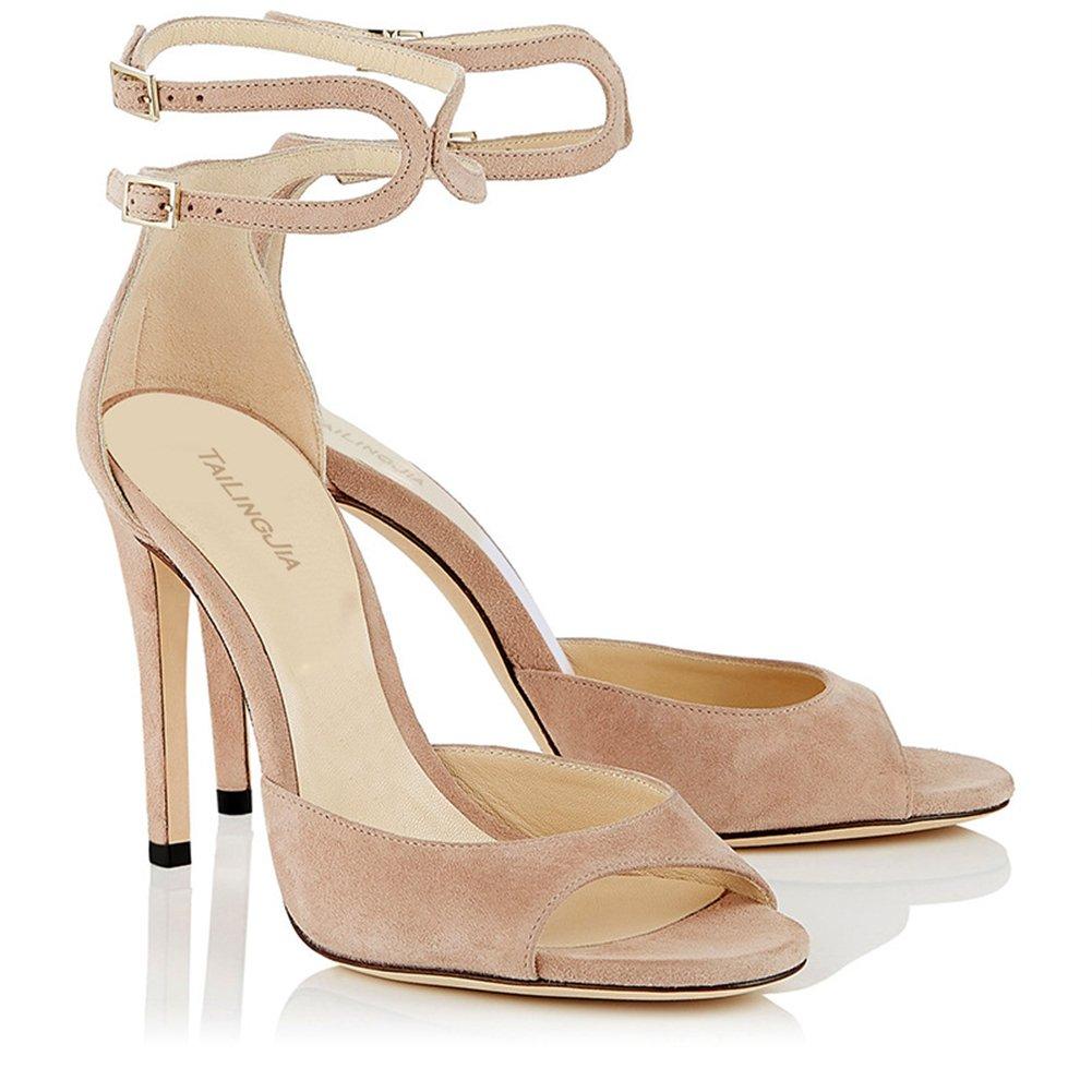 Damen Stiletto Sandaletten High Heels Riemchen Stiletto Damen Sandalen Schuhe Beige df5727