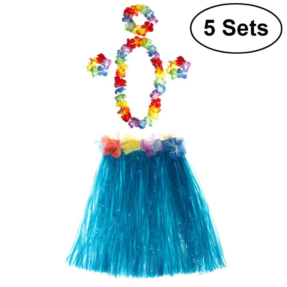 STOBOK Hawaii Hula Dance Set Falda Pulseras Collar de Diadema para niños