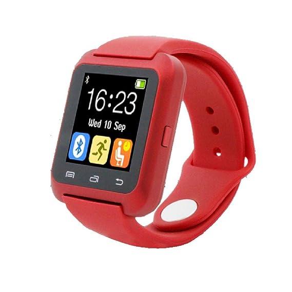 Fashion relojes Bluetooth Smart Android Digital reloj inteligente Wearable dispositivos rojo: Amazon.es: Relojes