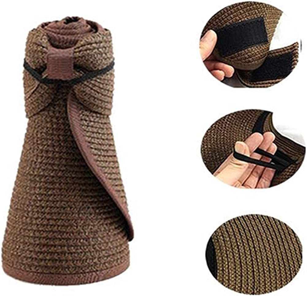 Bluelans/® Womens Roll Up Foldable Wide Brim Summer Sun Hat Beach Straw Visor Cap